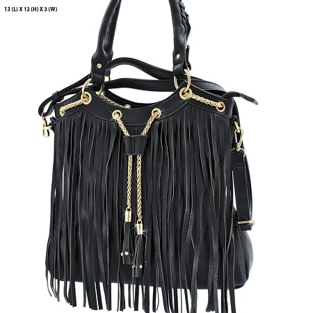 Black & Gold Fringe Handbag