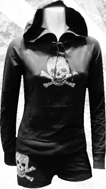 skull teeth raw edge hoodie & Shorts Set