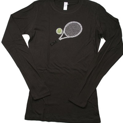 TENNIS RACQUET Rhinestone Long Sleeve Shirt