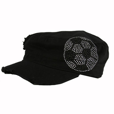 Black Soccer CADET CAP with Rhinestones