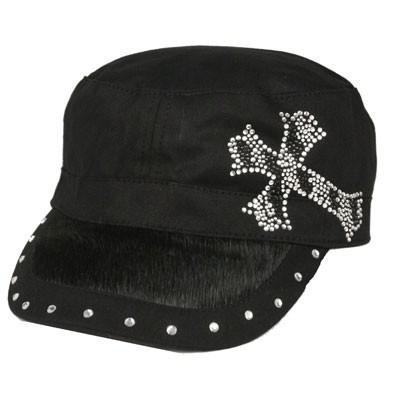BLACK Hair on Bill/Rhinestone CADET CAP with Zebra Cross