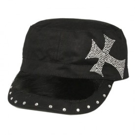 Cross Rhinestone Cadet Hat