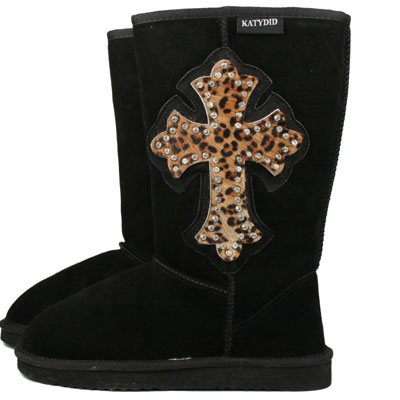 Leopard Cross Leather Boots