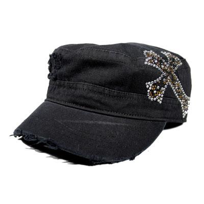 Black CADET CAP with Rhinestones - LEOPARD CROSS