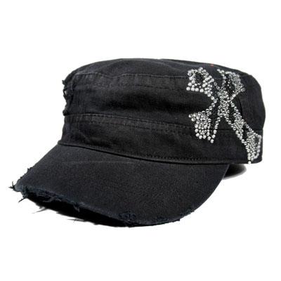 Black CADET CAP with Rhinestones - ZEBRA CROSS