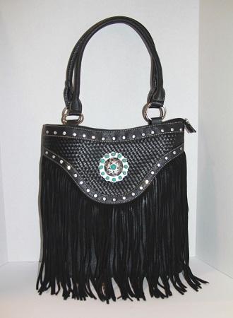 Western Fringe Handbag w/Turquoise Concho