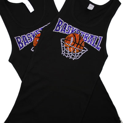 Black Basketball Rhinestone Tank Top