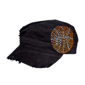 Black CADET CAP with Rhinestones - CRYSTAL BASKETBALL