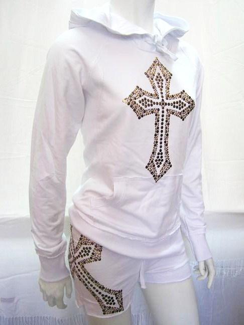 stud cross raw edge hoodie