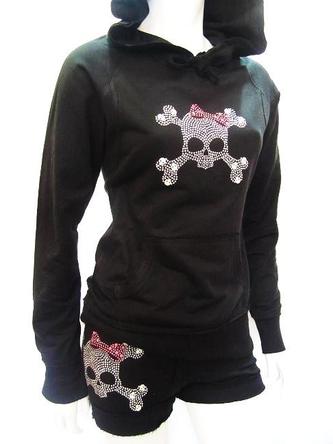 skull pink bow raw edge hoodie