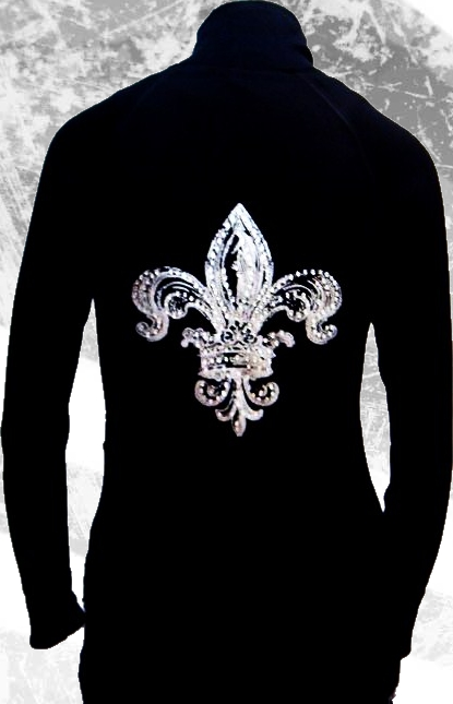 silver fleur de lis with rhinestone embellishment jacket