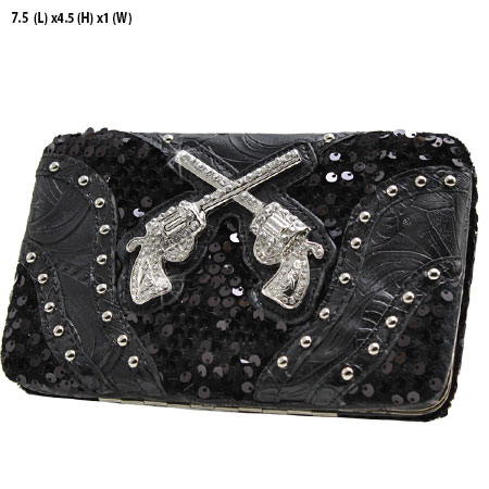 Sequins and Pistols Flat Wallet