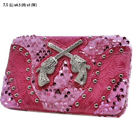 Sequins and Pistols Flat Wallet - Hot Pink