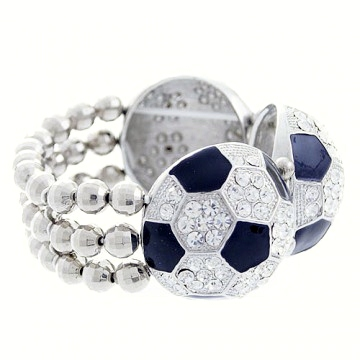 Rhinestone Soccerball Stretch Bracelet-Clear/Black