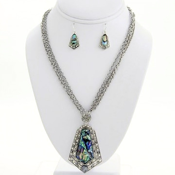 Abalone Charm Necklace Earring Set-Silver