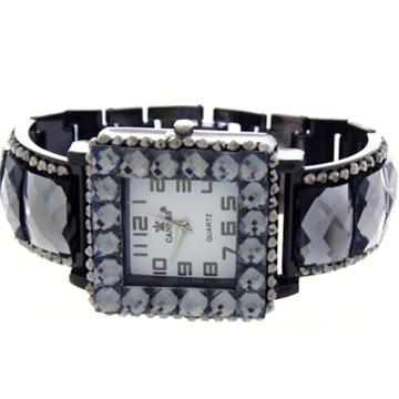 Crystal Link Watch-Hematite/Black Daimond