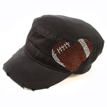 Black CADET CAP with Rhinestones - Football Heart