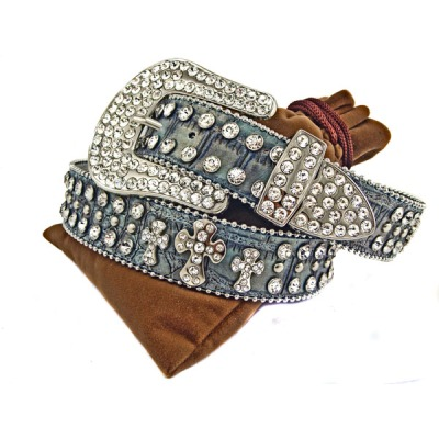 Rhinestone Cross Blue Jean Leather Belt