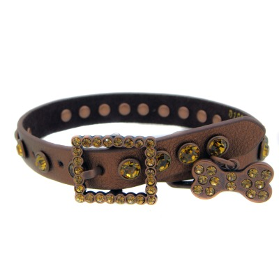 Rhinestone brown leather Dog Collar
