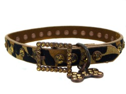 Leopard Leather Rhinestone Dog Collar