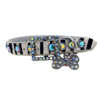 Zebra Leather Rhinestone Dog Collar