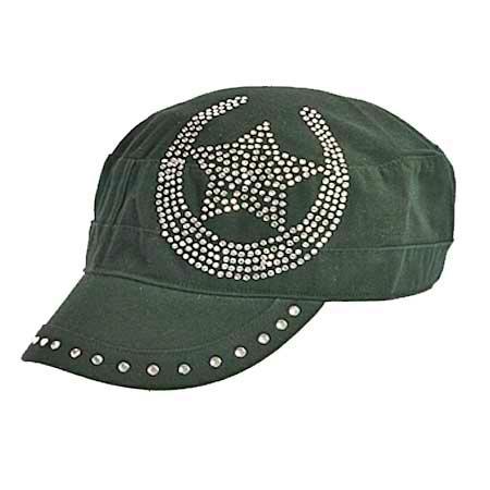 Rhinestone Horseshoe/Star Cadet Style Hat
