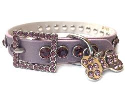 Narrow Rhinestone Dog Collar - Purple