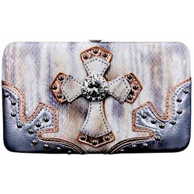 TWO TONE CROSS Flat Wallet - Cream