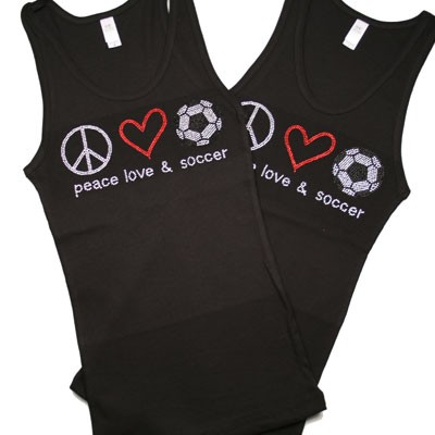 Peace Love & Soccer Rhinestone Tank