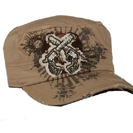 Tan Double Pistol Western Cadet Hat