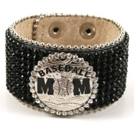 Baseball Mom Rhinestone Cuff - Black