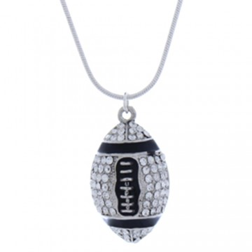 Crystal Football Slide Pendant Necklace