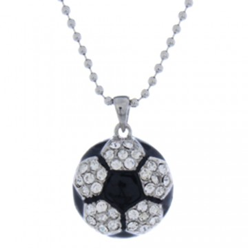 Crystal Soccer Ball Slide Pendant Necklace