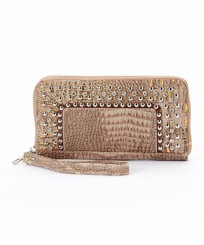 Studded Croc Wristlet Wallet