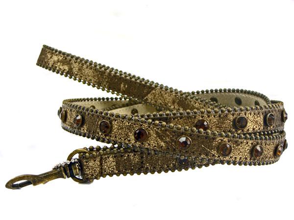 Rhinestone Leather Dog Leash - Bronze