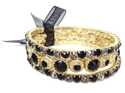Black/Gold Stacked Rhinestone Bracelet