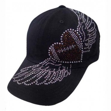 Black FOOTBALL Heart with Wings Rhinestone Baseball cap