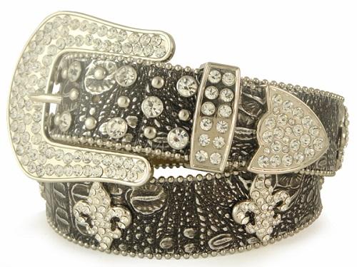 Rhinestone Leather Belt With Fleur De Lis