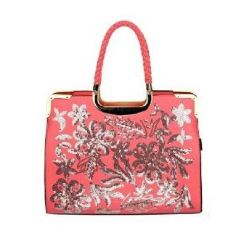 Fashion Sequins Decor Leatherette Handbag - Pink