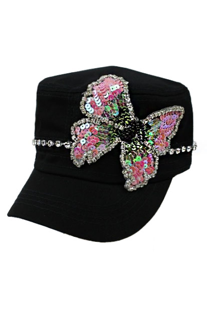 Butterfly Sequence Patch and Crystal Rhinestone Cadet Hat