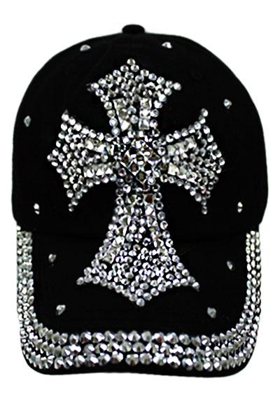 Bling Bling Rhinestone Cross Hat