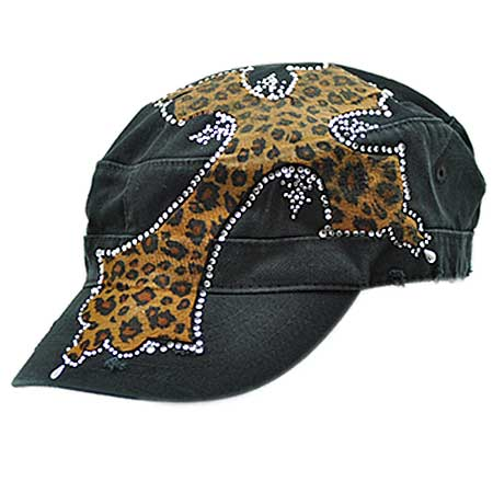Leopard Cross Rhinestone Cap