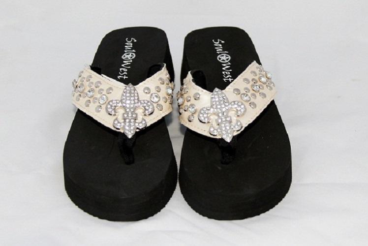 Rhinestone Fleur de Lis Flip Flops - Cream