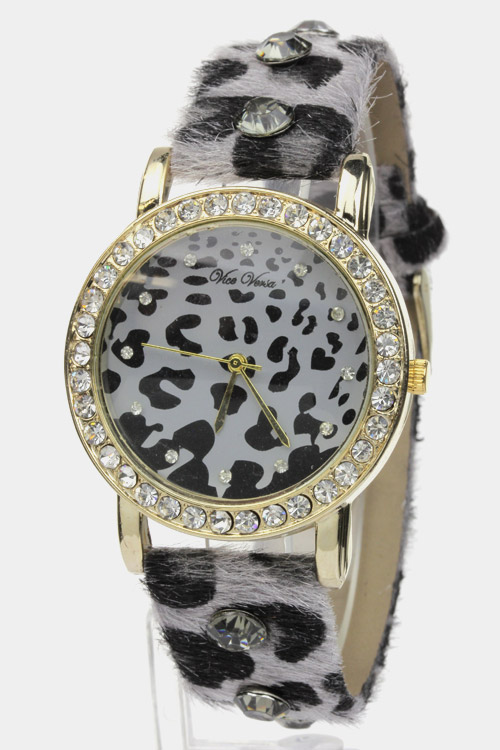 Animal Print Rhinestone Watch