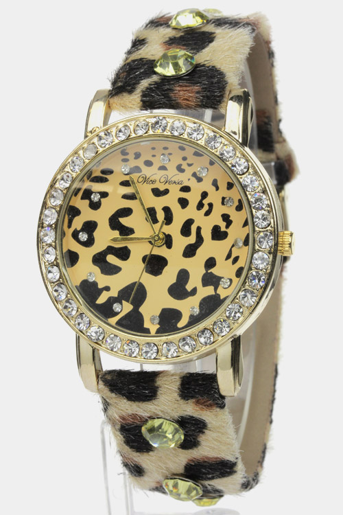 Crystal Leopard Watch - Ivory