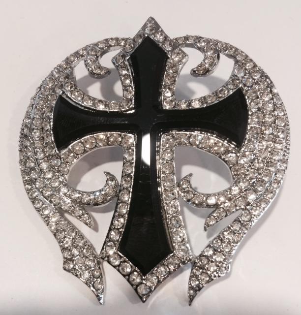 Black Cross Rhinestone Pendant