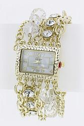 Crystal & Bead Layer Gold Fashion Bracelet Watch