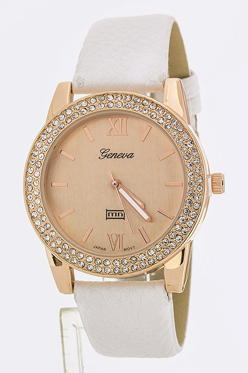 Crystal Bezel Fashion Watch - White/Rosegold