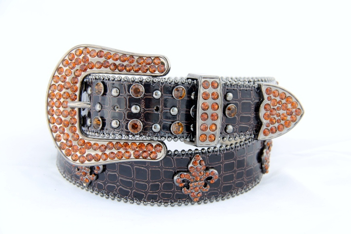Rhinestone Fleur de Lis Leather Belt