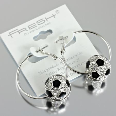 Soccer Ball Hoop Earrings